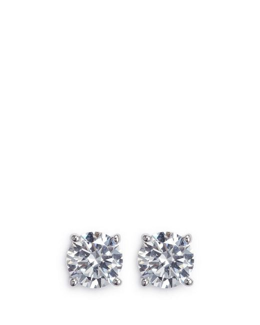 CZ by Kenneth Jay Lane | Metallic Round Cut Cubic Zirconia Medium Stud Earrings | Lyst