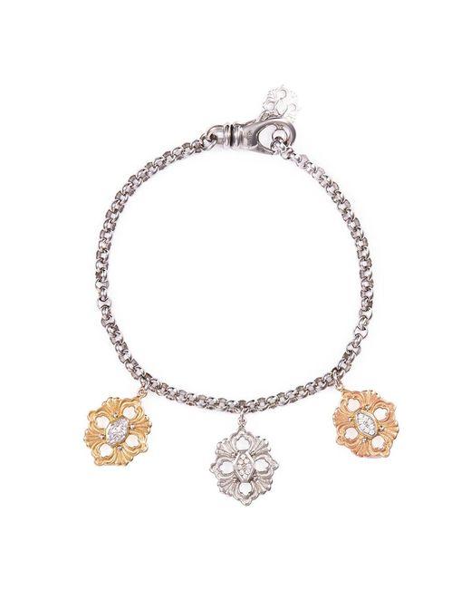 Buccellati   Metallic 'opera' Diamond 18k Gold Floral Charm Bracelet   Lyst