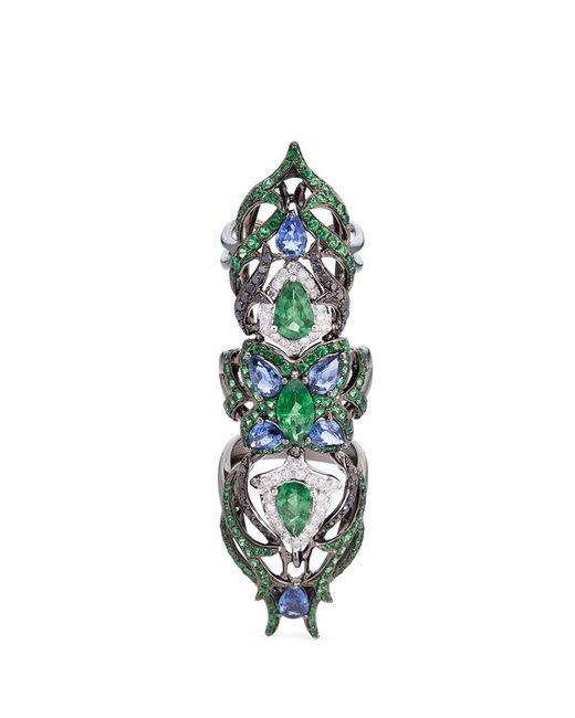 Wendy Yue | Metallic Diamond Sapphire Tsavorite 18k White Gold Full Finger Ring | Lyst