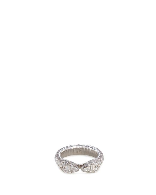 Repossi | Metallic 'ophydienne' Diamond 18k White Gold Snake Ring | Lyst