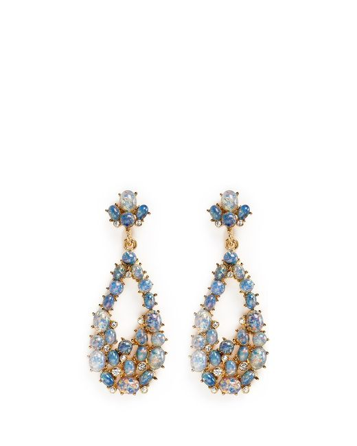 Kenneth Jay Lane | Metallic Opalescent Glass Cabochon Cutout Drop Earrings | Lyst