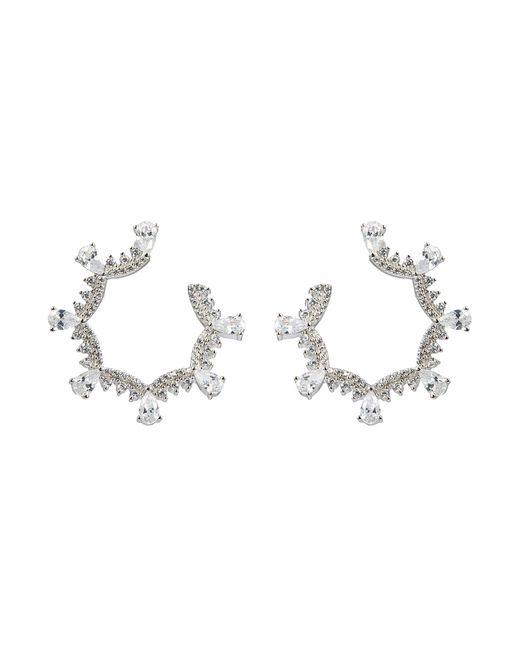 HEFANG - Metallic 'classical Lace' Cubic Zirconia Silver Scalloped Hoop Earrings - Lyst