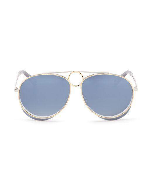 Chloé - Blue 'romie' Cutout Circle Mirror Metal Aviator Sunglasses for Men - Lyst