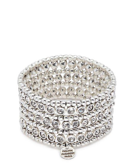Philippe Audibert - Metallic 'asea' Swarovski Crystal Three Row Plate Elastic Bracelet - Lyst