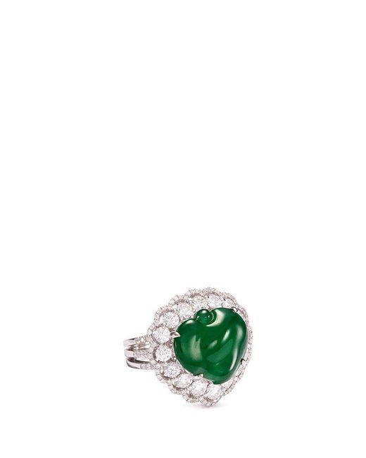 LC COLLECTION - Metallic Diamond Jade 18k Gold Peach Ring - Lyst