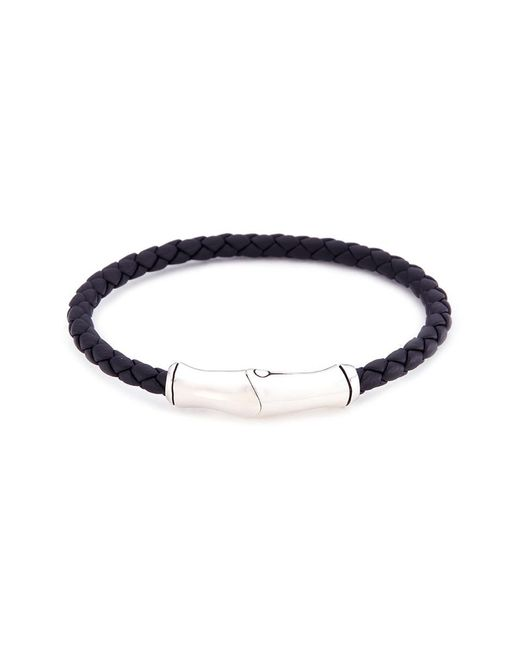 John Hardy - Metallic Braided Leather Bamboo Silver Bracelet - Lyst