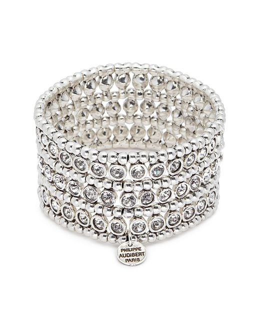 Philippe Audibert - Metallic 'asea' Swarovski Crystal Three Row Plate Elastic Bracelet - Lyst