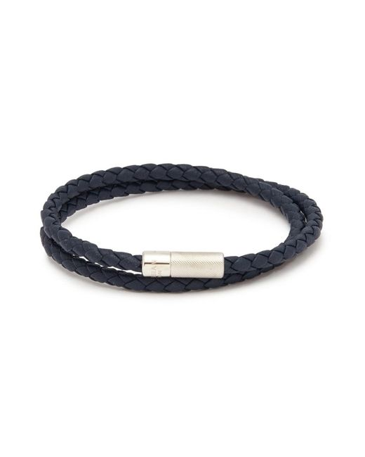 Tateossian - Blue 'pop Rigato' Double Wrap Braided Leather Bracelet for Men - Lyst