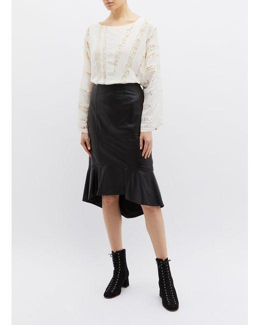 76c7bb25c7a18 ... Chloé - White Asymmetric Lace Panel Tie Back Silk Top for Men - Lyst ...