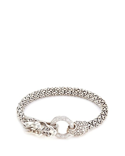 John Hardy | Metallic Diamond Silver Scaly Dragon Bracelet | Lyst