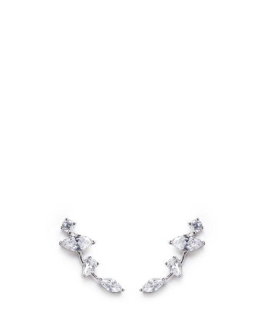 CZ by Kenneth Jay Lane | White Cubic Zirconia Link Climber Earrings | Lyst