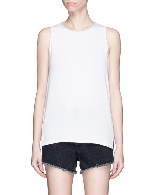 Rag & Bone | White 'oasis' Contrast Trim Knit Tank Top | Lyst