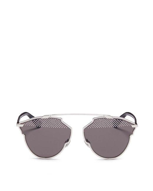 Dior | Gray ' So Real S' Stud Lens Panto Sunglasses | Lyst