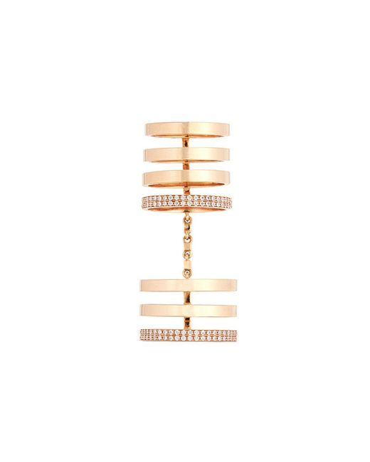Repossi - Metallic 'berbère' Diamond 18k Rose Gold Seven Row Linked Ring - Lyst