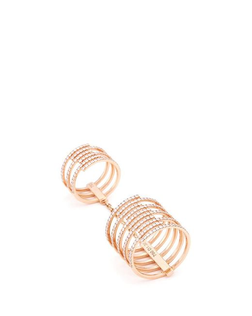 Messika - Metallic 'gatsby Double' Diamond 18k Rose Gold Chain Ring - Lyst