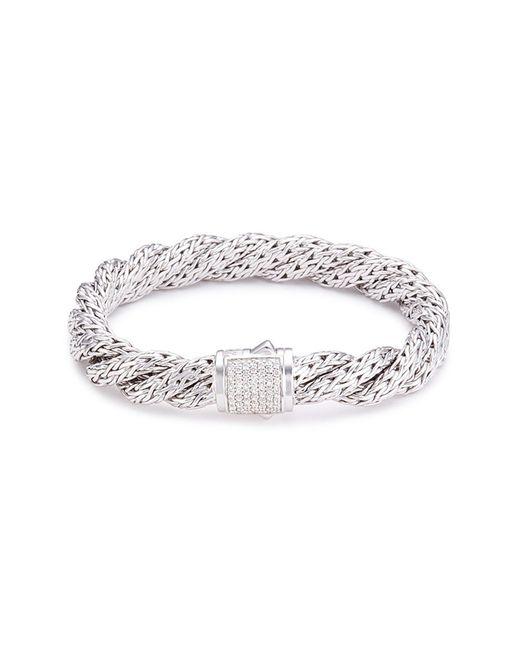 John Hardy - Metallic Diamond Silver Twist Medium Woven Chain Bracelet - Lyst