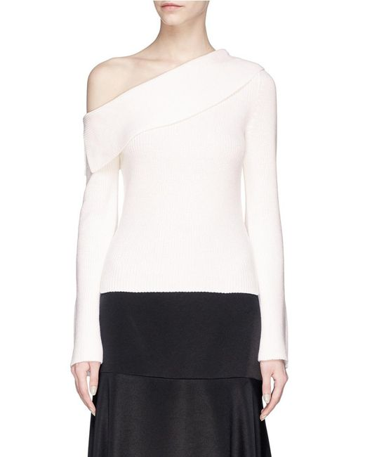Theory - White One-shoulder Merino Wool Blend Sweater - Lyst