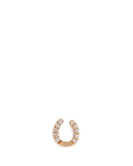 Loquet London | Metallic 'horseshoe' Diamond 18k Yellow Gold Single Stud Earring – Protection | Lyst