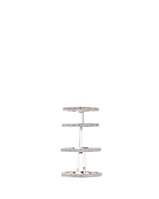 Repossi | Metallic 'antifer' Diamond 18k White Gold Four Row Linked Ring | Lyst