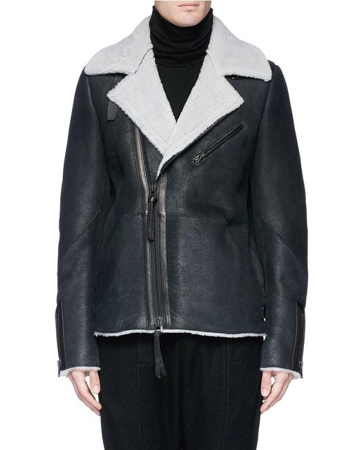 The Viridi-anne | Black Colourblock Sheepskin Shearling Bomber Jacket for Men | Lyst