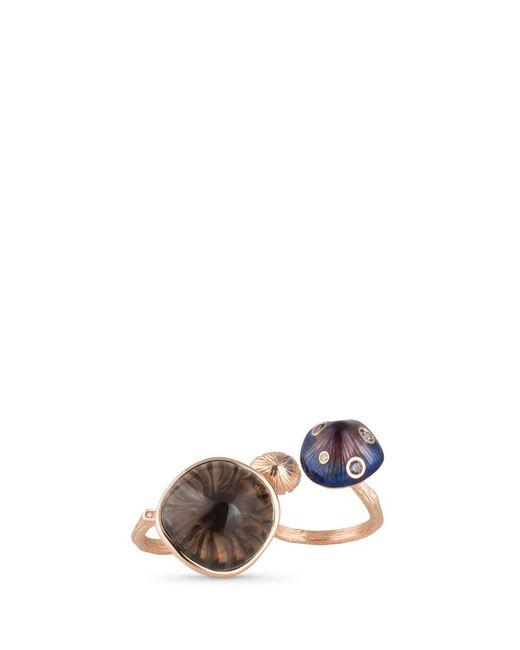 Heting | Multicolor 'mushroom' Diamond Garnet Quartz 18k Rose Gold Two Finger Ring | Lyst