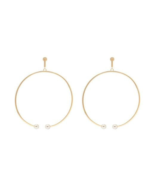 Chloé - Metallic 'darcey' Swarovski Pearl Hoop Earrings - Lyst