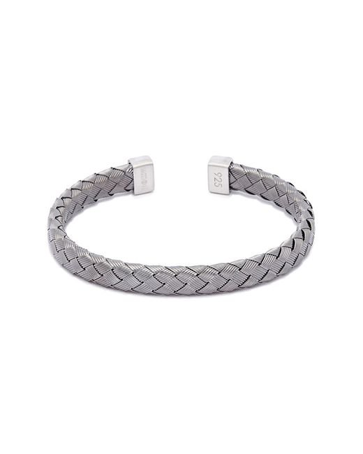 Tateossian - Metallic 'bamboo' Woven Effect Rhodium Silver Cuff for Men - Lyst