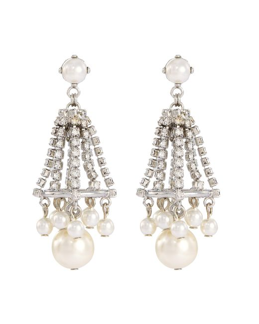 Erickson Beamon - Metallic 'knights' Swarovski Crystal Glass Pearl Drop Earrings - Lyst