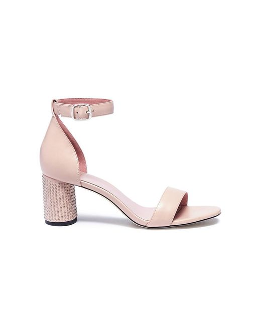 Pedder Red | Pink 'stacy' Stud Pavé Heel Leather Sandals | Lyst