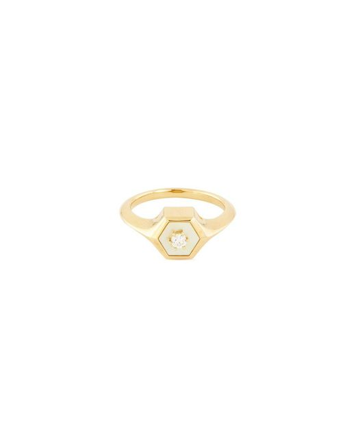 Tasaki - Metallic Diamond Mother-of-pearl 18k Yellow Gold Ring - Lyst