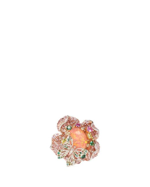 Anabela Chan | Multicolor 'bloom' Opal Diamond Sapphire Gold Vermeil Open Ring | Lyst