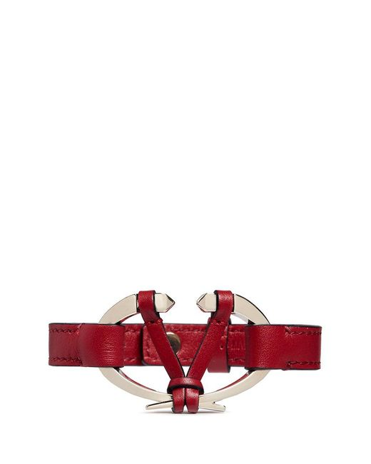 Valentino | Red Logo Plate Leather Bracelet | Lyst
