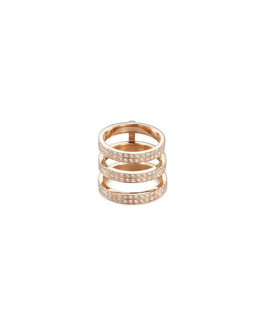 Repossi - Metallic 'berbère' Diamond 18k Rose Gold Three Row Phalanx Ring - Lyst
