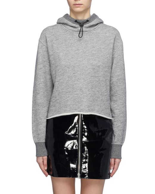 Rag & Bone - Gray Raw Hem Cropped Hoodie - Lyst