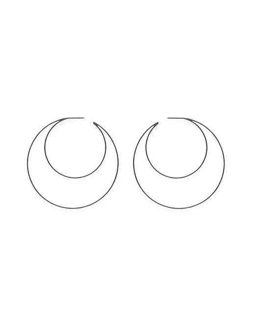 Lynn Ban - Metallic 'crescent Hoops' Rhodium Silver Earrings - Lyst