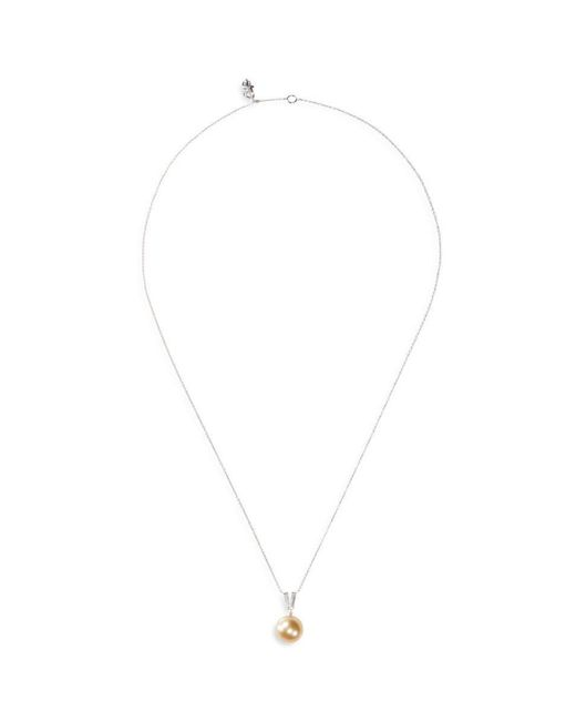 LC COLLECTION - Metallic Diamond South Sea Pearl 18k Gold Pendant Necklace - Lyst