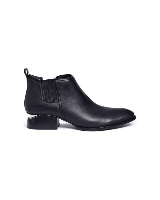 Alexander Wang - Black 'kori' Cutout Heel Leather Chelsea Boots - Lyst