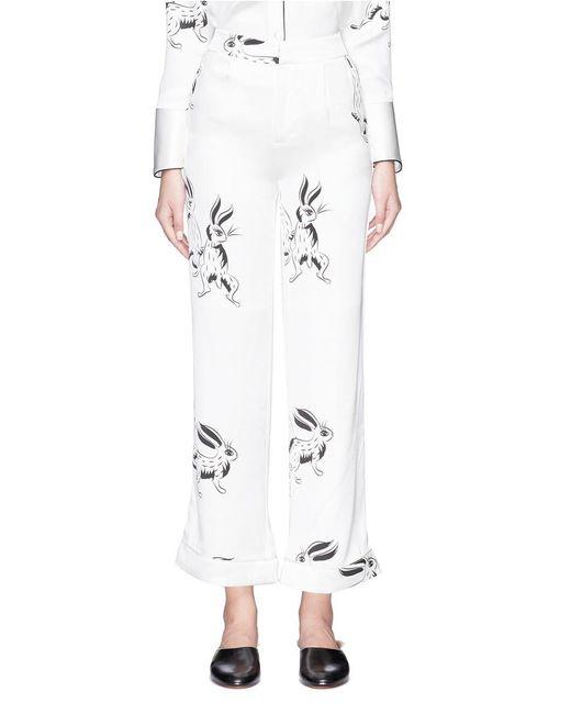 Helen Lee | White Bunny Print Silk Satin Culottes | Lyst