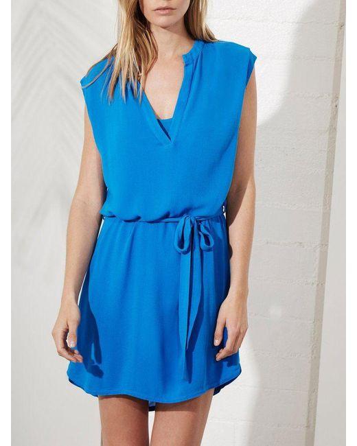Lanston   Blue Sleeveless Shirt Dress   Lyst