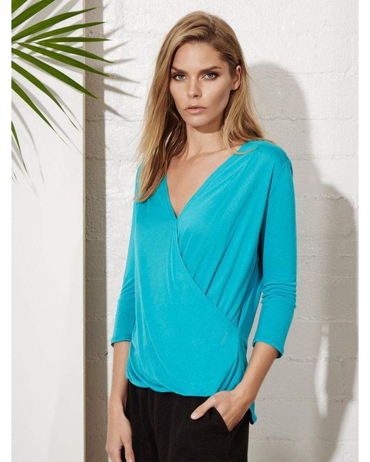 Lanston | Blue Surplice 3/4 Sleeve Top | Lyst