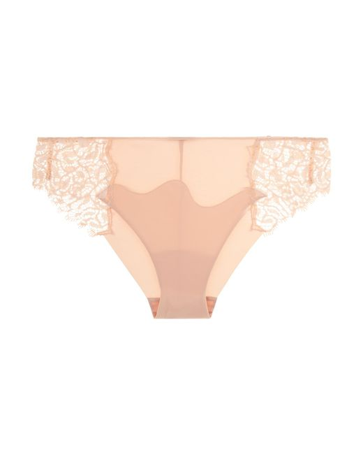 La Perla | Natural Eggshell Lycra Medium Brief With Leavers Lace And Sheer Tulle | Lyst