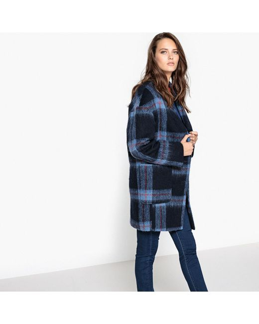 LA REDOUTE - Blue Checked Ovoid Coat - Lyst