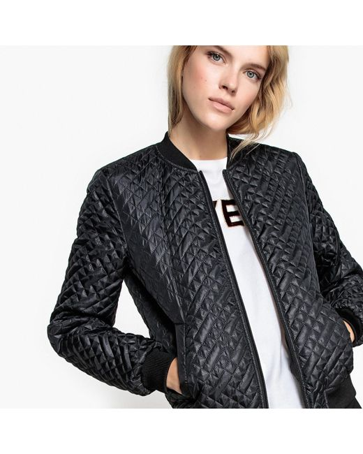 LA REDOUTE | Black Quilted Bomber Jacket | Lyst