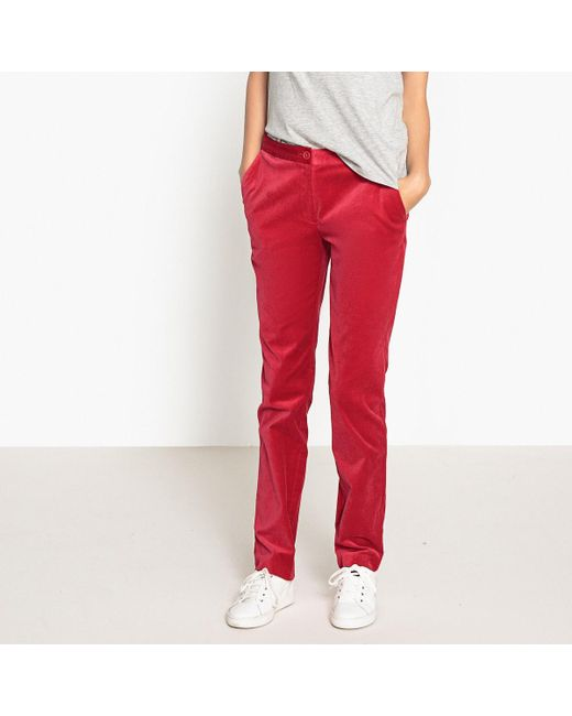 LA REDOUTE | Red Cotton Mix Trousers | Lyst