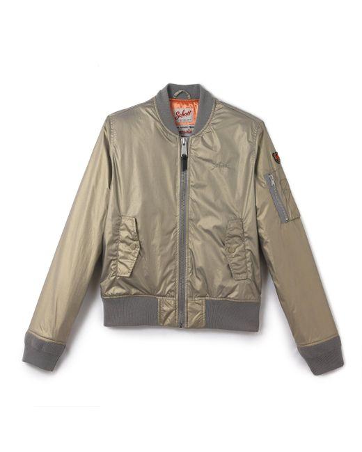schott nyc satin bomber jacket in multicolor lyst. Black Bedroom Furniture Sets. Home Design Ideas