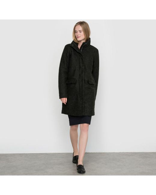 Ichi | Black Segaz Ja Zip-up Coat With Stand-up Collar And Padded Interior | Lyst