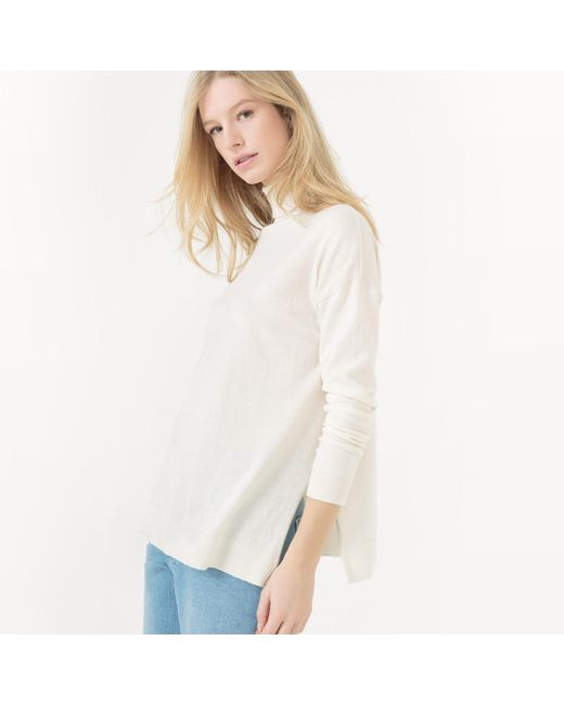LA REDOUTE | White Cotton/silk Roll-neck Jumper/sweater | Lyst