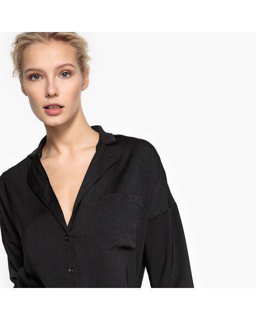 LA REDOUTE | Black Flowing Shirt With Tailored Collar | Lyst