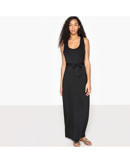 LA REDOUTE   Black Belted Maxi Dress With Cross Back Straps   Lyst