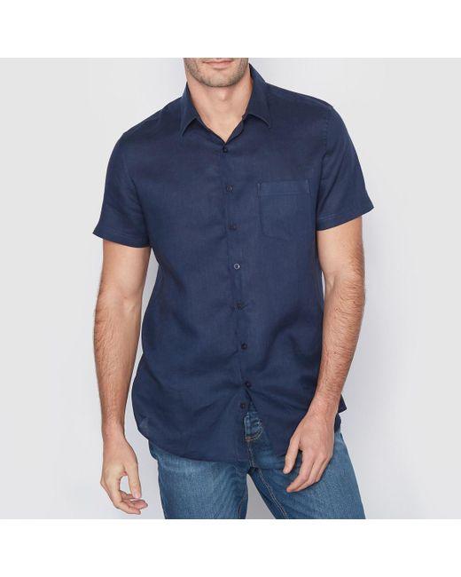 LA REDOUTE - Blue Straight Cut Linen Shirt for Men - Lyst